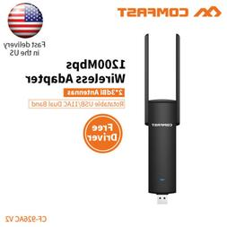 Comfast 1200mbps wifi adapter plug & play 5.8ghz wi-fi dongl