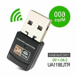 600 Mbps 2.4-5ghz USB Dual Band Wireless Adapter WiFi Dongle