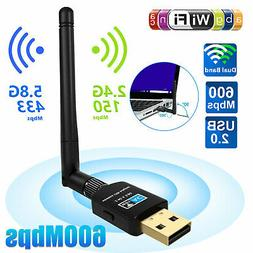 600Mbps Dual Band USB Wireless WiFi Adapter Dongle 5G/2.5G B