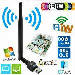 600Mbps WiFi Adapter USB Dongle Wireless Network Card Laptop