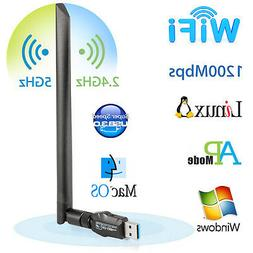 USB Wi-Fi Adapters/Dongles Dual Band 1200Mbps 5dBi 5.8GHz/80